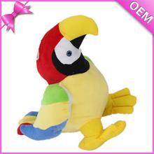 OEM Stuffed Beautiful Color Plush Bird With Voice Machine, Custom Talking Plush Parrot