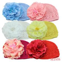 Cheap baby crochet hats hotsale fashion summer baby knit kufi hats crochet style baby newborn peony crochet hats