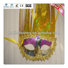 Yellow Masquerade Feather Party Mask