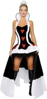 Hot Black&White Queen Of Hearts Cosplay Dress Adult Fantasia Cosplay Costume Uniforme Halloween Sexy Clothing For Women