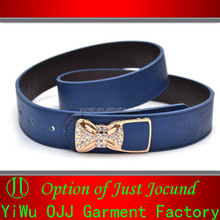 Women Ladies Fake Crystal PU Leather Women Shiny Belts with Bow