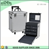 Professional silver rolling makeup case with drawer for beauty artist aluminum case