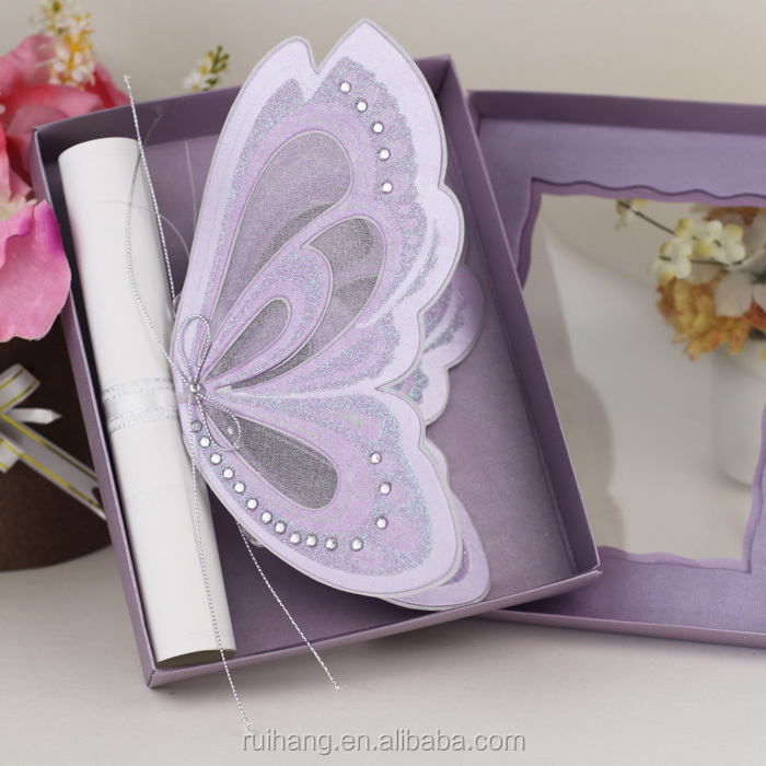 Royal Purple Color Vivid Butterfly Shaped Wedding Invitations - Buy ...