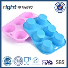 Food grade FDA Silicone muffin mold round blue color 6 caves Right silicone manufacture