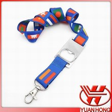 Smooth flag lanyards with beer opener