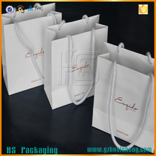Luxury cotton handle shopping paper bag / custom small paper shopping bag with logo printing