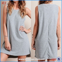 High Quality Summer Fashion Gir Gray South Cotton Dress Material Lady Dress Cotton Design Shift Mini Dress