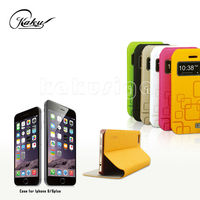 Kaku Manufacture professional flip leather wallet leather case for iphone 6 plus