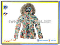 Women beautiful jackets with fur hood/ladies printing jacket