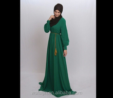 Long sleeve maxi muslim dress for woman,chiffon dress