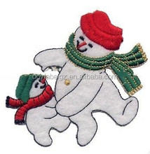 embroidered snow man patches