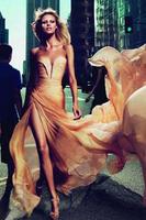 Celebrity Inspired Anja Rubik Le Parfum Ad Champagne Evening Dresses