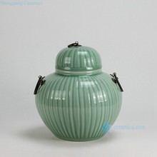 RYKB122-A H10 inch Ceramic Bamboo design with Metal Ring Lid Celadon Green Jar