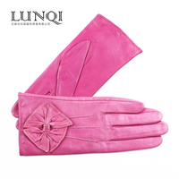 Decorated with flower pattern warm sheep genuine leather --- female