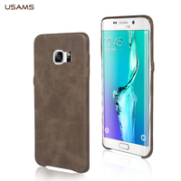 Original USAMS BOB Series PU Back Case Leather Cover Soft Grain Processing Case For Samsung S6 edge plus MT-4437