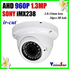 "Night vision 30m ir distance 36pcs ir leds built-in ir cut module 1.3mp 960p 1/3"" sony analog ahd metal camera"