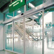 Auto glass entrance sliding door systems