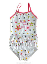 One piece girl dress with tassels design and star printing