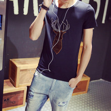 Summer new short-sleeved T-shirt trend deer Korean casual beaded T-shirt M wholesale