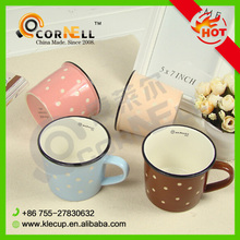 Custom Color & Design 2015 NEW Hot Item Enamel Camping Mug Enamel Mug with Outer Enamel Painting