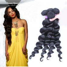 Sunny Queen 5A Grade 100% unprocessed Malaysian Hair bundles, malaysian hair Loose Wave Hair Weaving
