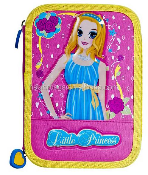Mignon fille 3 couches crayon cas / rempli étui à crayons avec papeterie pour les filles