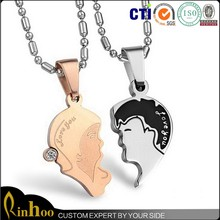 Couple Stainless Steel Chain Pendant Necklace for lover new Fashion Jewelry portrait Necklace