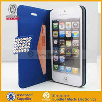 Blue Slim Flip Wallet Genuine Leather Case For iPhone 5 5G