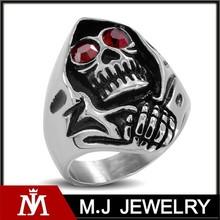 stainless steel men's skull grim reaper ring