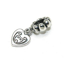 2015 Antique European Heart Dangle Charms Big Hole Beads Wholesale