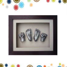 Creative 3D baby handprint frame clay in high quality shadow box