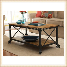 solid wood metal legs coffee table antique style