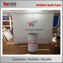 Portable advertising 100% polyester fabric backdrop exhibition booth design