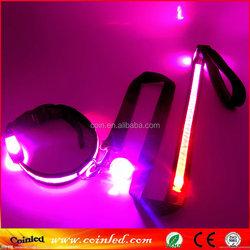 LED Flashing reflective light up flat optic fiber nylon luminous pet collar and leash