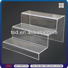 TSD-A744 china factory Custom clear wholesale 3-tier acrylic riser/shoe store stand/acrylic shoe display stand