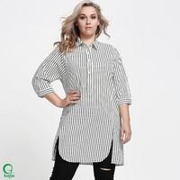 SSW030 Fashion Cutting Long Design Striped Fat Women Shirt
