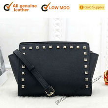 new arrival good quality genuine leather rivet good quality hand-bag - 563#-2