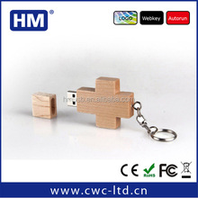 Wood cross USB flash driver 2GB4GB8GB16GB with keychain wooden USB stick Custom Solution print/laser engraving LOGO