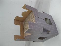 Factory direct sale pet toy giant scratcher castle shape cardboard cat house with corrugated cat scratcher