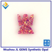 Synthetic Fire Pink OP22 Angel Shape Opal Gemstone For Fashion Jewelry