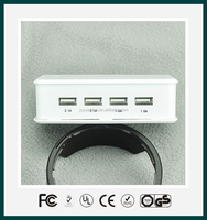 ODM/OEM flat multi mobile phone 4 port usb travel charger with UL,CE,ROHS,FCC Approved