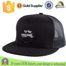 Six panel snapback hats cut sew cotton mesh cap with custom embroidered patch