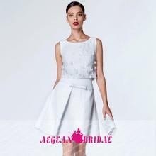 BF27 new arrival o neck sleeveless white beaded lace short vestido de renda