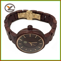 Red sandal OEM wood watch, Brand butterfly clasp wholesale wood watches man