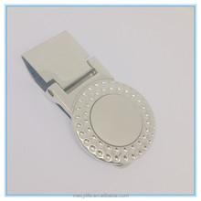 Wholesale new design round shape diamond plated fancy money clip