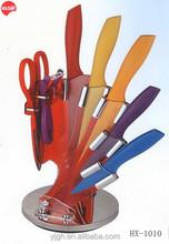 HX-1010 8pcs kitchen knife set with swirl Acrylic block Include knife scissor and peeler