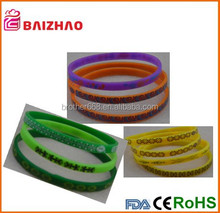 promotion Elastic silk printed silicone wristband/rubber bracelet ,debossed wristband for promotion