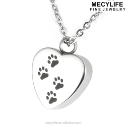 MECY LIFE dog footprint heart shaped stainless steel pet ash jewelry
