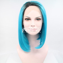 cosplay new wig short blue highlight hair synthetic lace front wig heat resisting wig
