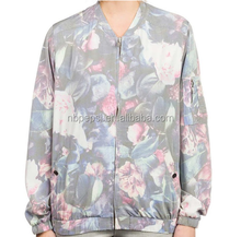 Women's Rayon/poly Mixed Soft Fashion Sublimation Photo Print Baseball Collar Light Jacket